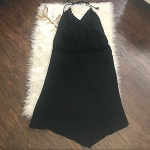 Banana Republic Black Silk Blend Pointed Hem Dress